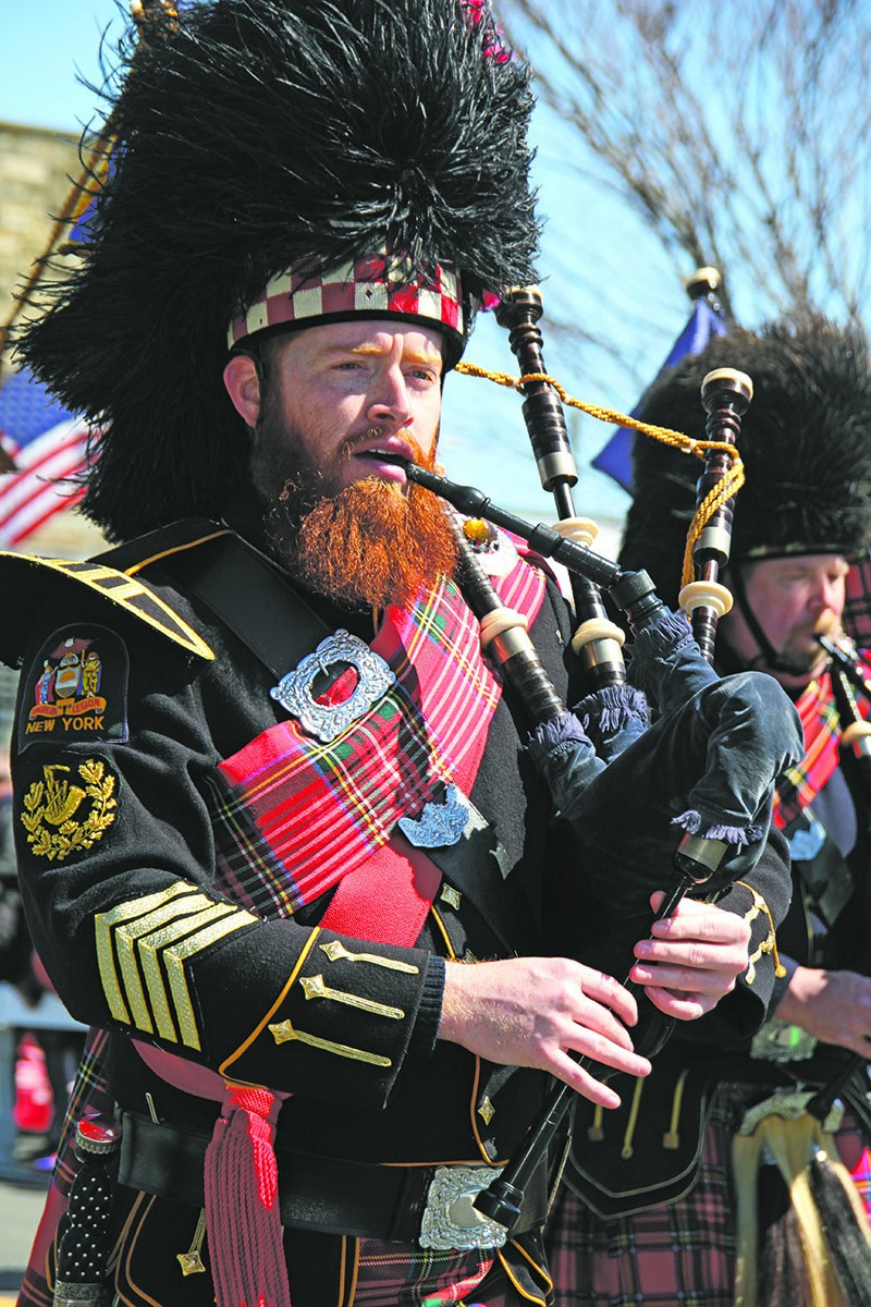 Pipe Major TJ White of the Amityville Pipe Band